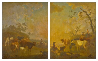 View 1. Thumbnail of Lot 161. JEAN BAPTISTE DE ROY | A PAIR OF PASTORAL LANDSCAPES WITH SHEPHERDS AND CATTLE WATERING.