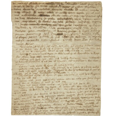 View 2. Thumbnail of Lot 1. NEWTON, ISAAC | TWO HIGHLY IMPORTANT DOCUMENTS RELATING TO NEWTON'S HISTORICAL RESEARCHES.