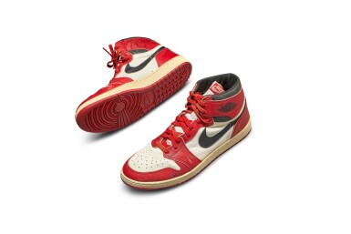View 2. Thumbnail of Lot 1. Michael Jordan's Game Worn 1985 Player Sample Air Jordan 1s | Sizes 13, 13.5.