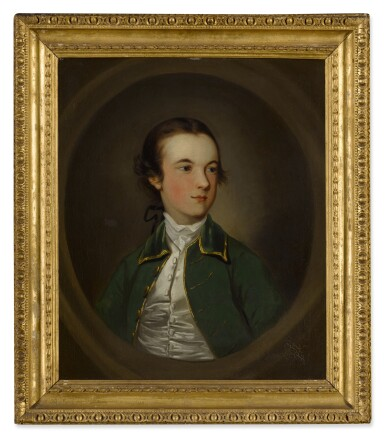 View 3. Thumbnail of Lot 107. Portrait of a young boy, half length, wearing a green jacket.