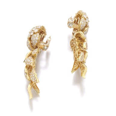 View 2. Thumbnail of Lot 64. CARTIER   PAIR OF DIAMOND PENDENT EARRINGS.
