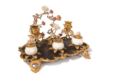View 2. Thumbnail of Lot 723. A LOUIS XV GILT BRONZE, LACQUER AND PORCELAIN-MOUNTED INKSTAND, MID-18TH CENTURY.