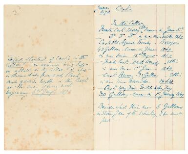 Dickens, Autograph manuscript notebook, titled 'Gad's Hill Cellar Casks', 1870