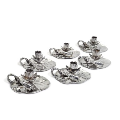 View 1. Thumbnail of Lot 71. A set of six Victorian silver novelty 'Lily' chambersticks, R. & S. Garrard & Co London, 1854 and 1863.