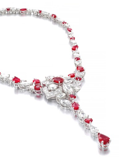 View 2. Thumbnail of Lot 19. GRAFF   RUBY AND DIAMOND NECKLACE.