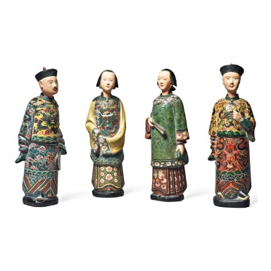 A GROUP OF FOUR CHINESE EXPORT PLASTER NODDING HEAD FIGURES, QING DYNASTY, 19TH CENTURY