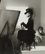 Fashion with Easel, Reboux Hat, Cartier Jewels (Estrella Boissevain)