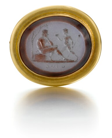 View 1. Thumbnail of Lot 99. ITALIAN, LATE 18TH CENTURY | INTAGLIO WITH A YOUTH AND A SATYR.