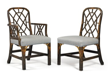 View 2. Thumbnail of Lot 4. A Set of Eight English Black and Gilt Japanned Dining Chairs, Late 19th Century.