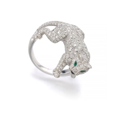 View 2. Thumbnail of Lot 1101. Emerald, onyx and diamond ring, 'Panthère'.