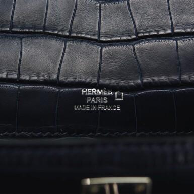 View 8. Thumbnail of Lot 44. Hermès Mini Kelly Pochette of Bleu Indigo Matte Mississippiensis Alligator with Palladium Hardware.