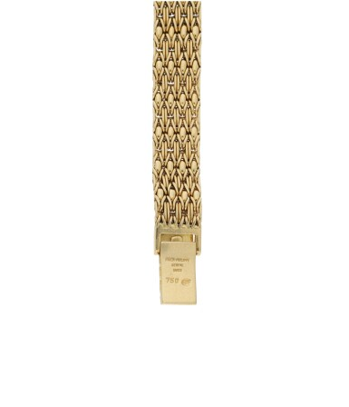 View 5. Thumbnail of Lot 57.  PATEK PHILIPPE | REFERENCE 4712/1 A YELLOW GOLD AND DIAMOND-SET SQUARE BRACELET WATCH, MADE IN 1987.