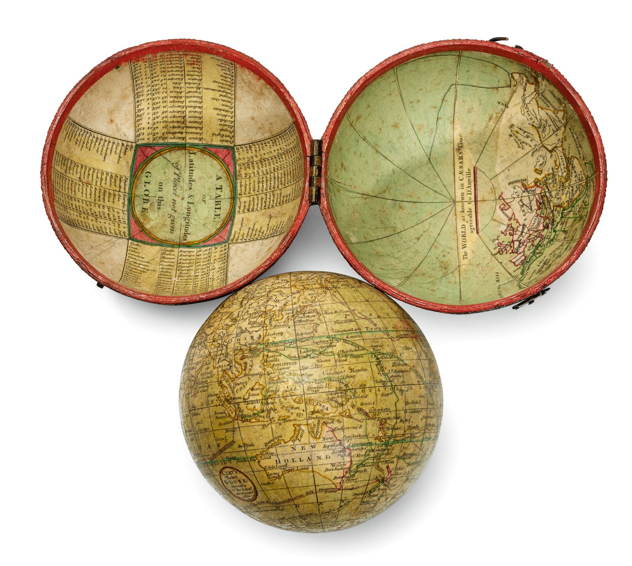 View full screen - View 1 of Lot 291. Cary. Terrestrial pocket globe in fish skin case. 1791.