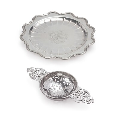 A GEORGE I SILVER SALVER AND STRAINER, JOHN CORPORON AND JOHN ALBRIGHT, LONDON, 1717 AND 1719