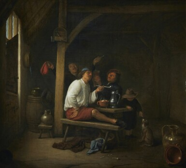 HENDRICK MAERTENSZ. SORGH | A TAVERN SCENE WITH PEASANTS SMOKING AND DRINKING
