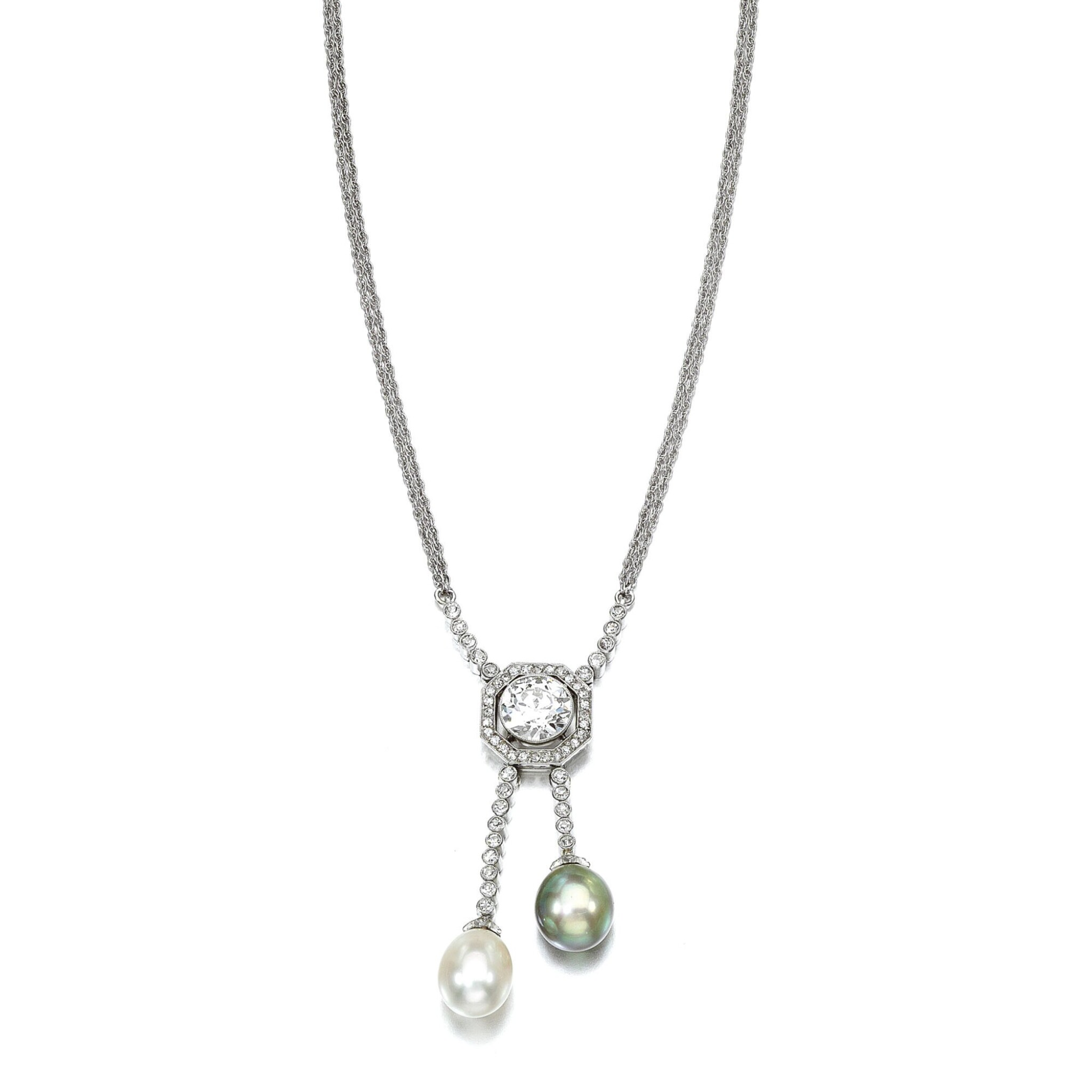 NATURAL PEARL AND DIAMOND PENDANT NECKLACE, CIRCA 1910 AND LATER