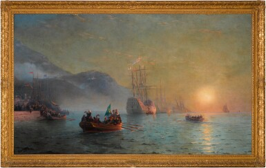 View 2. Thumbnail of Lot 21. Columbus' Farewell before Starting on his Voyage from Port Palos in Spain.