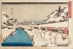 Ando Hiroshige Japon | 日本 歌川広重 《東海道五拾三次之内・沼津・黄昏圖》、 《江都名所・御殿山遊興》、 《東都名所・芝赤羽根之雪》 | Ando Hiroshige, three prints from various series: Numazu (Numazu, tasogare zu) from the series Fifty-three Stations of the Tokaido, ca. 1833-1834 ; Snow at Akabane Bridge in Shiba, from the series Famous Places of the Eastern Capital, ca. 1837; Cherry blossoms at Goten-yama, from the series Famous Places in Edo, ca. 132-1834