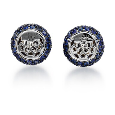 View 3. Thumbnail of Lot 306. GRAFF   PAIR OF SAPPHIRE AND DIAMOND EARRINGS.