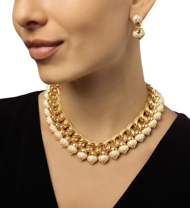 View 2. Thumbnail of Lot 354. GOLD AND DIAMOND 'PIGNE' NECKLACE AND PAIR OF EARCLIPS, BULGARI.