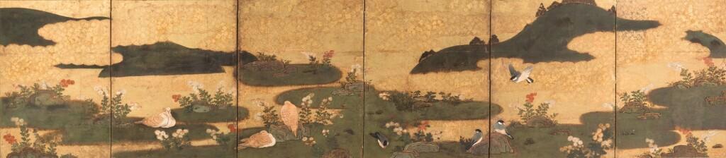 PARAVENT À SIX FEUILLES JAPON, XVIIE SIÈCLE | A six-panel screen, Japan, 17th century