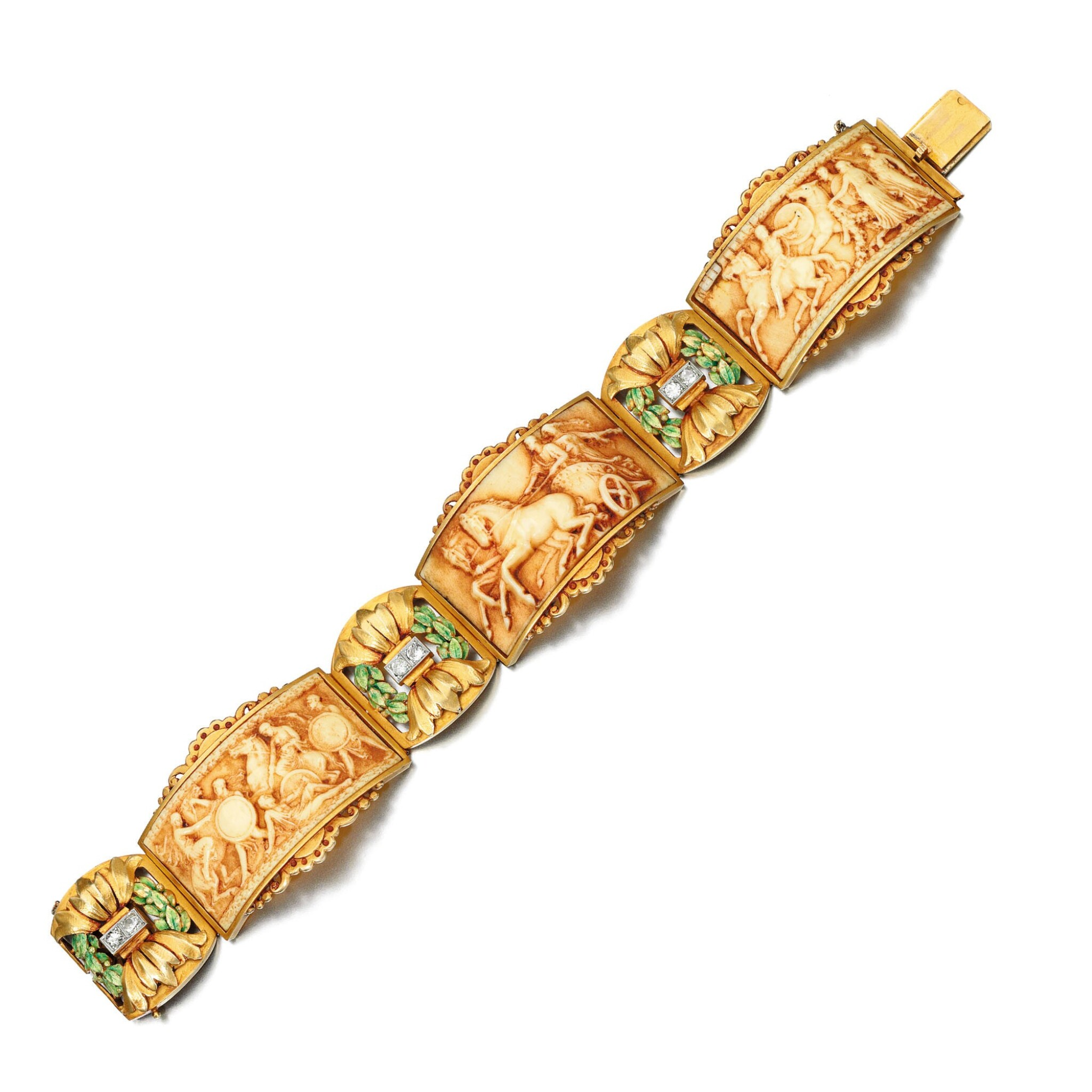 View full screen - View 1 of Lot 224. IVORY, ENAMEL AND DIAMOND BRACELET, ATTRIBUTED TO FUSET Y GRAU, CIRCA 1920.