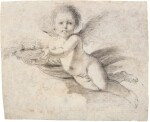 GIOVANNI FRANCESCO BARBIERI, CALLED GUERCINO | A FLYING PUTTO HOLDING A BASKET WITH FLOWERS