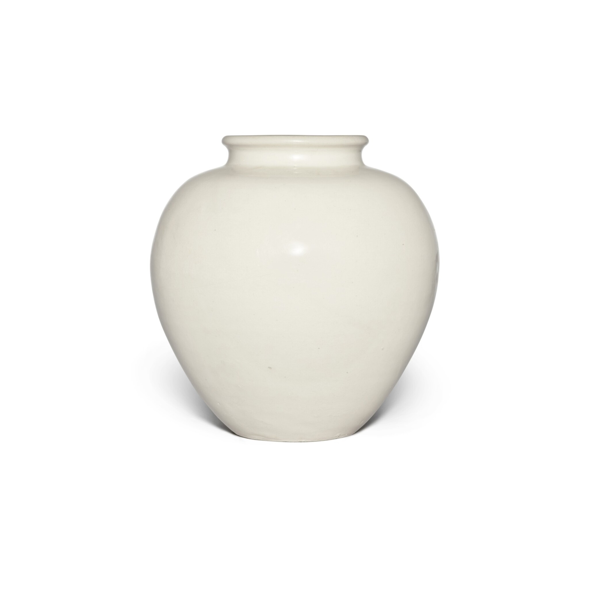 View full screen - View 1 of Lot 98. A white-glazed pottery ovoid jar, Tang dynasty | 唐 白釉罐.