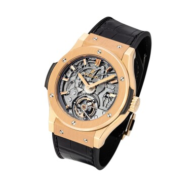 View 2. Thumbnail of Lot 2104. Hublot | Classic Fusion, Reference 504.OX.0180.LR, A limited edition king gold skeletonized tourbillon minute repeating wristwatch with cathedral gongs, Circa 2014 | 宇舶 | Classic Fusion 型號504.OX.0180.LR  限量版帝王金鏤空陀飛輪三問腕錶,備大教堂音簧,約2014年製.