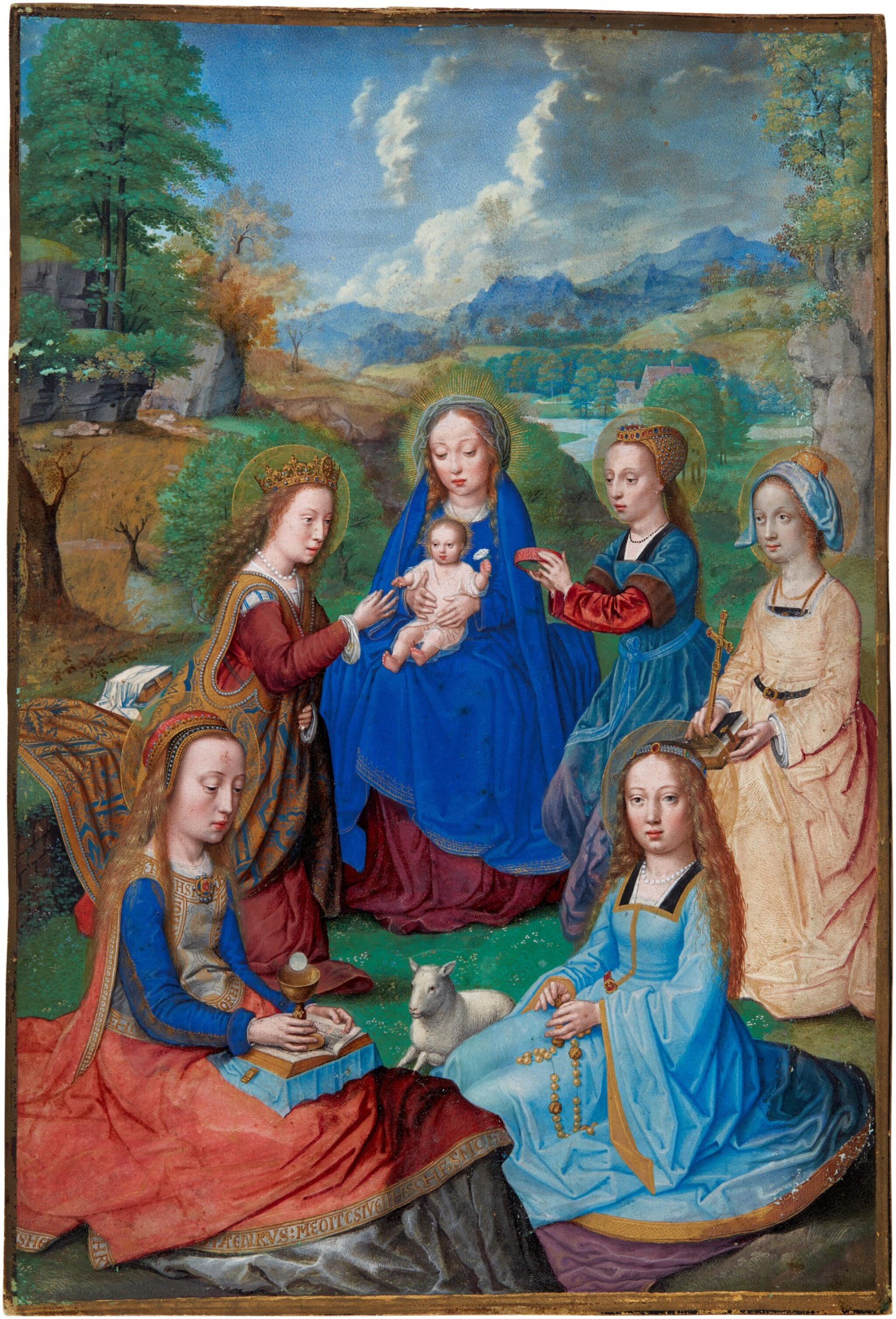 View full screen - View 1 of Lot 74. The Virgo inter virgines in a landscape, on vellum pasted to panel [Flemish (Simon Bening, Bruges?), c.1530–40].