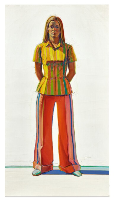 View 1. Thumbnail of Lot 43. WAYNE THIEBAUD   GIRL IN STRIPED BLOUSE.
