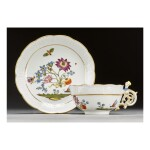 A MEISSEN 'BIENENMUSTER' PATTERN TEACUP AND SAUCER CIRCA 1740