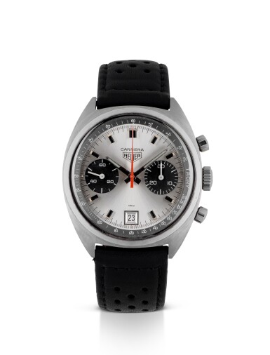HEUER   CARRERA, REF 7853 STAINLESS STEEL CHRONOGRAPH WRISTWATCH WITH DATE CIRCA 1970