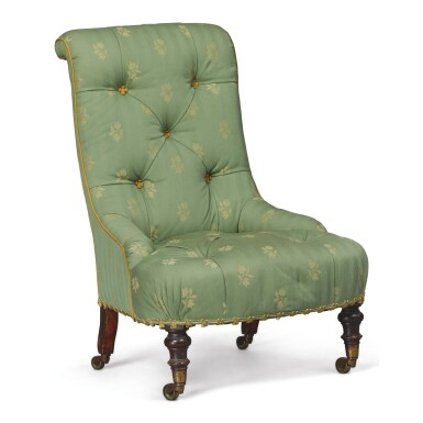 View 1. Thumbnail of Lot 93.  A GREEN UPHOLSTERED LOW CHAIR.