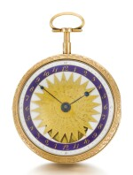 A GOLD AND ENAMEL DOUBLE DIALLED ASTRONOMICAL WORLD TIME WATCH WITH 24 WORLD LOCATIONS AND THEIR LATITUDE, CALENDAR AND MOON PHASES CIRCA 1790 [ 瑞士製黃金畫琺瑯雙錶盤世界時間天文懷錶,備24個地方時間及緯度、日曆及月相顯示,年份約1790]