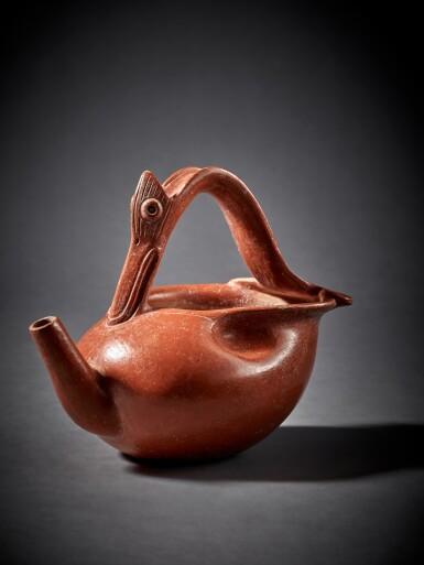 View 1. Thumbnail of Lot 99. Maya Orangeware Vessel of a Waterbird Early Classic, circa AD 250 - 450.