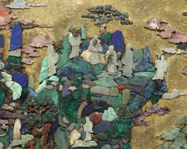 View 2. Thumbnail of Lot 669. AN EXTRAORIDINARY AND RARE 'DAOIST IMMORTALS' HARDSTONE-INLAID PANEL, QING DYNASTY, QIANLONG PERIOD.