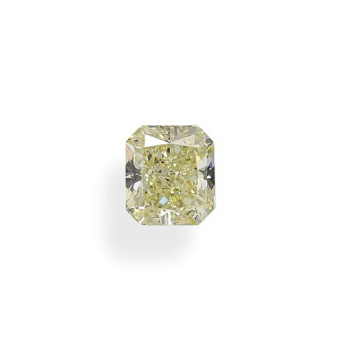 A 2.01 Carat Fancy Yellow Cut-Cornered Rectangular Modified Brilliant-Cut Diamond, SI1 Clarity