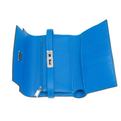 View 7. Thumbnail of Lot 13. Hermès Bleu Hydra Kelly Depliant Medium Wallet of Chevre Leather with Palladium Hardware.
