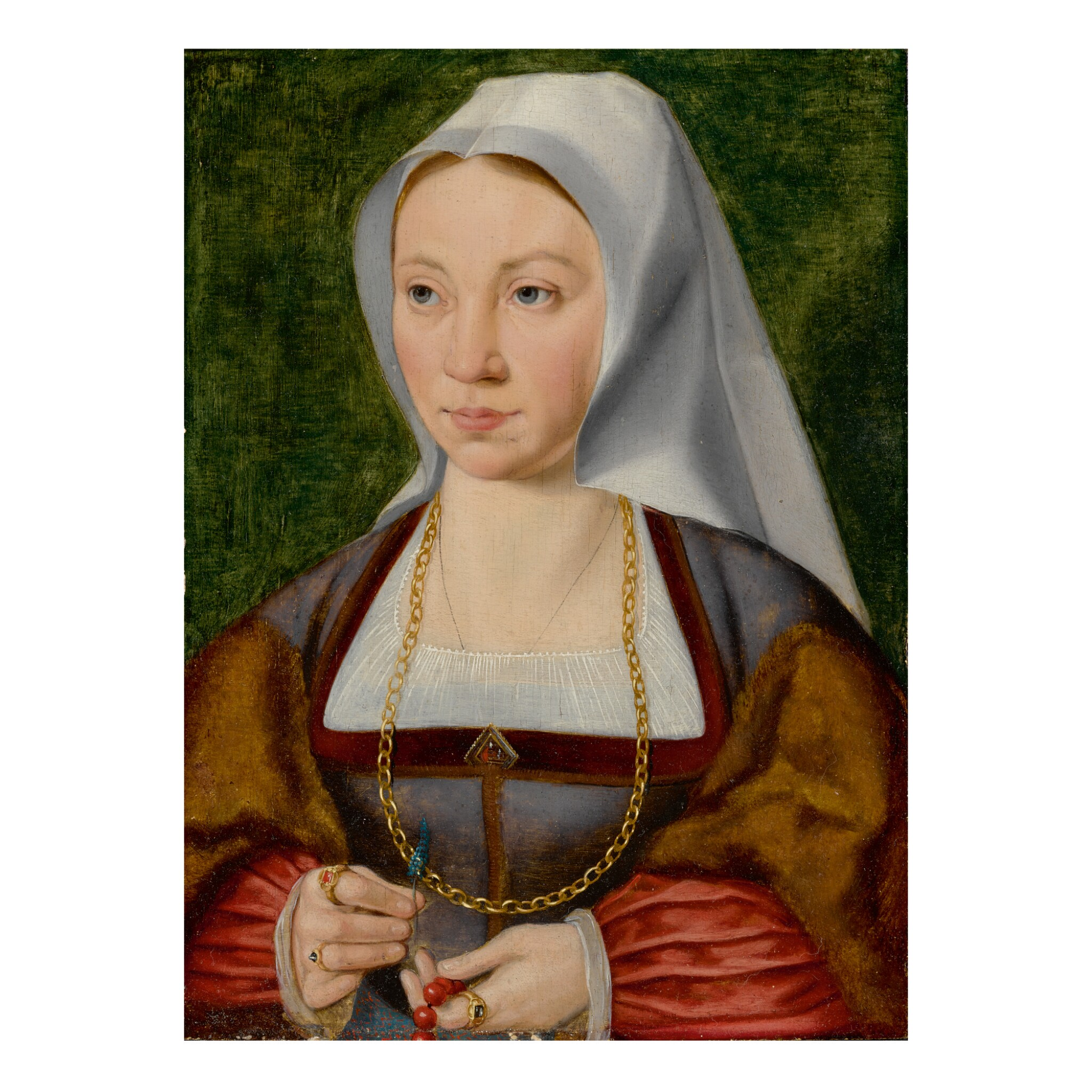 View full screen - View 1 of Lot 18. ATTRIBUTED TO JOOS VAN CLEVE | PORTRAIT OF A LADY HOLDING A ROSARY AND A FLOWER.