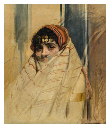 View 1. Thumbnail of Lot 135. WOJCIECH KOSSAK     PORTRAIT OF A VEILED WOMAN.