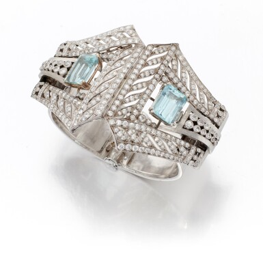 AQUAMARINE AND DIAMOND BRACELET   (BRACCIALE CON ACQUAMARINE E DIAMANTI)
