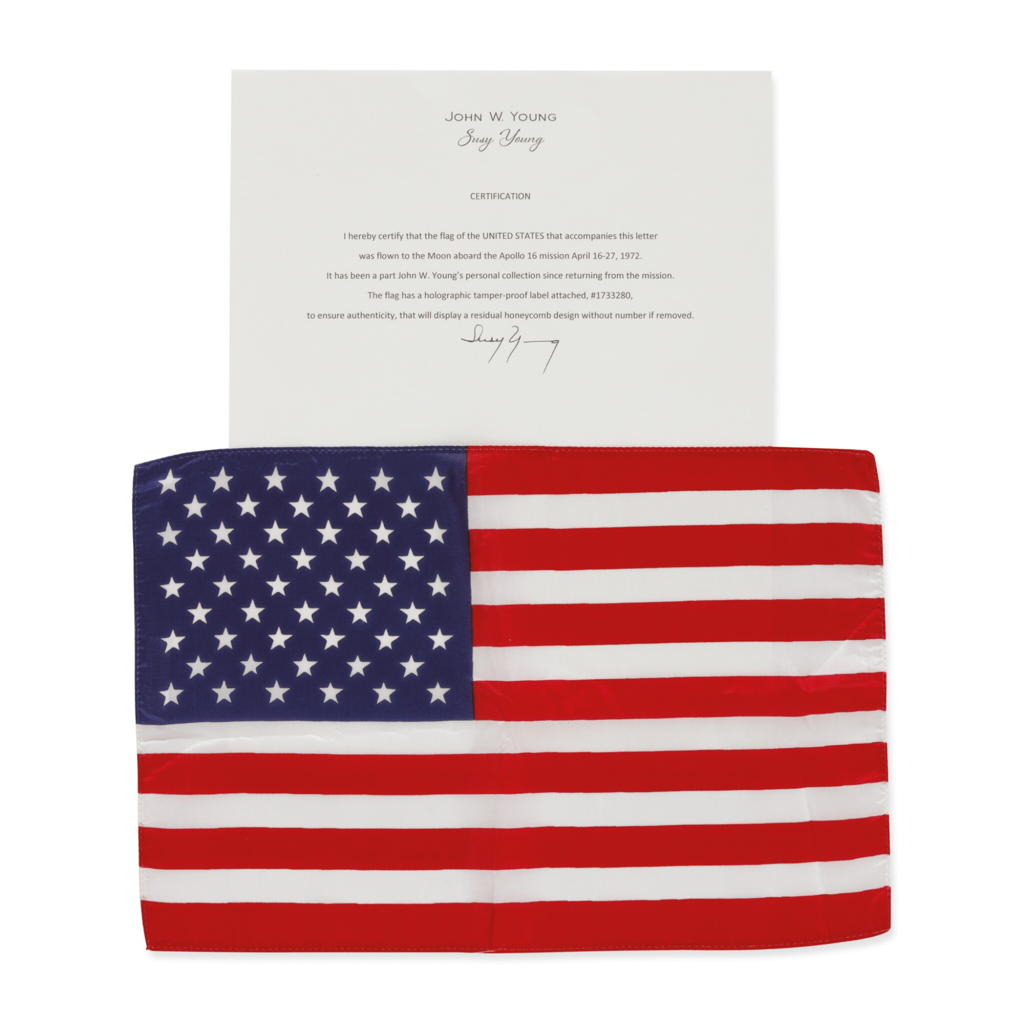 View full screen - View 1 of Lot 193. [APOLLO 16]. FLOWN ON APOLLO 16. LARGE UNITED STATES OF AMERICA FLAG FROM THE COLLECTION OF JOHN YOUNG.