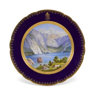 View 6. Thumbnail of Lot 106. An Imperial presentation set of twelve Hutschenreuther porcelain plates, circa 1890.