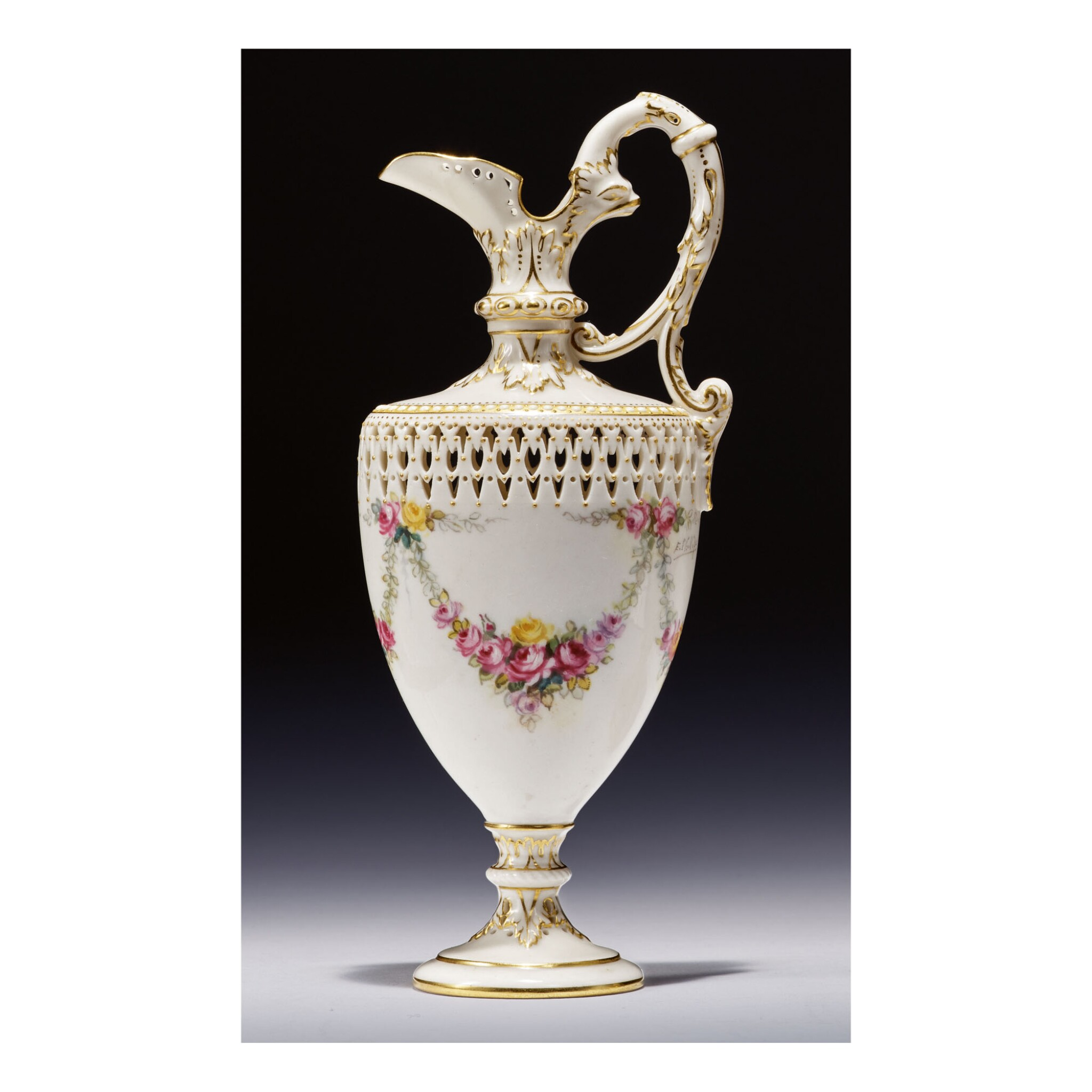 A ROYAL WORCESTER PORCELAIN RETICULATED EWER BY GEORGE OWEN PAINTED BY ERNEST PHILLIPS 1931