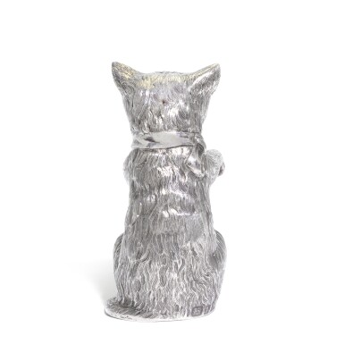 View 3. Thumbnail of Lot 27. An Elizabeth II silver caster in the form of a cat, Edward Barnard & Sons Ltd., London, 1962.