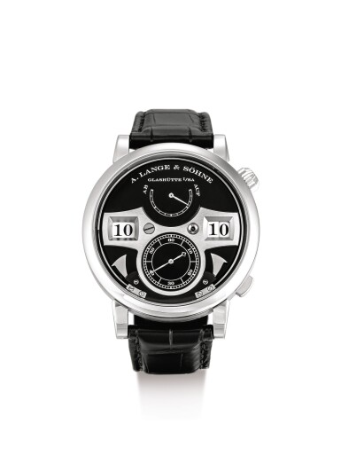 """View 1. Thumbnail of Lot 2074. A. LANGE & SÖHNE   ZEITWERK STRIKING TIME, A WHITE GOLD WRISTWATCH WITH DIGITAL DISPLAY, STRIKING TIME AND POWER RESERVE INDICATION, CIRCA 2010   朗格   """"Zeitwerk Striking Time 白金腕錶,備跳字、打問報時及動力儲備顯示,機芯編號91060,錶殼編號201171,約2010年製""""."""