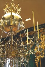 A FRENCH CUT-GLASS, GILT BRONZE AND SILVERED GLASS EIGHT-LIGHT MONTGOLFIERE CHANDELIER, EARLY 19TH CENTURY