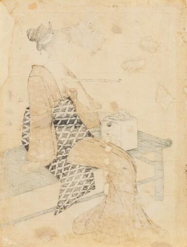 View 2. Thumbnail of Lot 271. Utagawa Toyokuni I Japan Femme fumant sur un banc   Utagawa Toyokuni I, Lady smoking seated on a bench, Japan   日本 歌川豊国 《八月》  Utagawa Toyokuni I, Lady smoking seated on a bench, Japan.