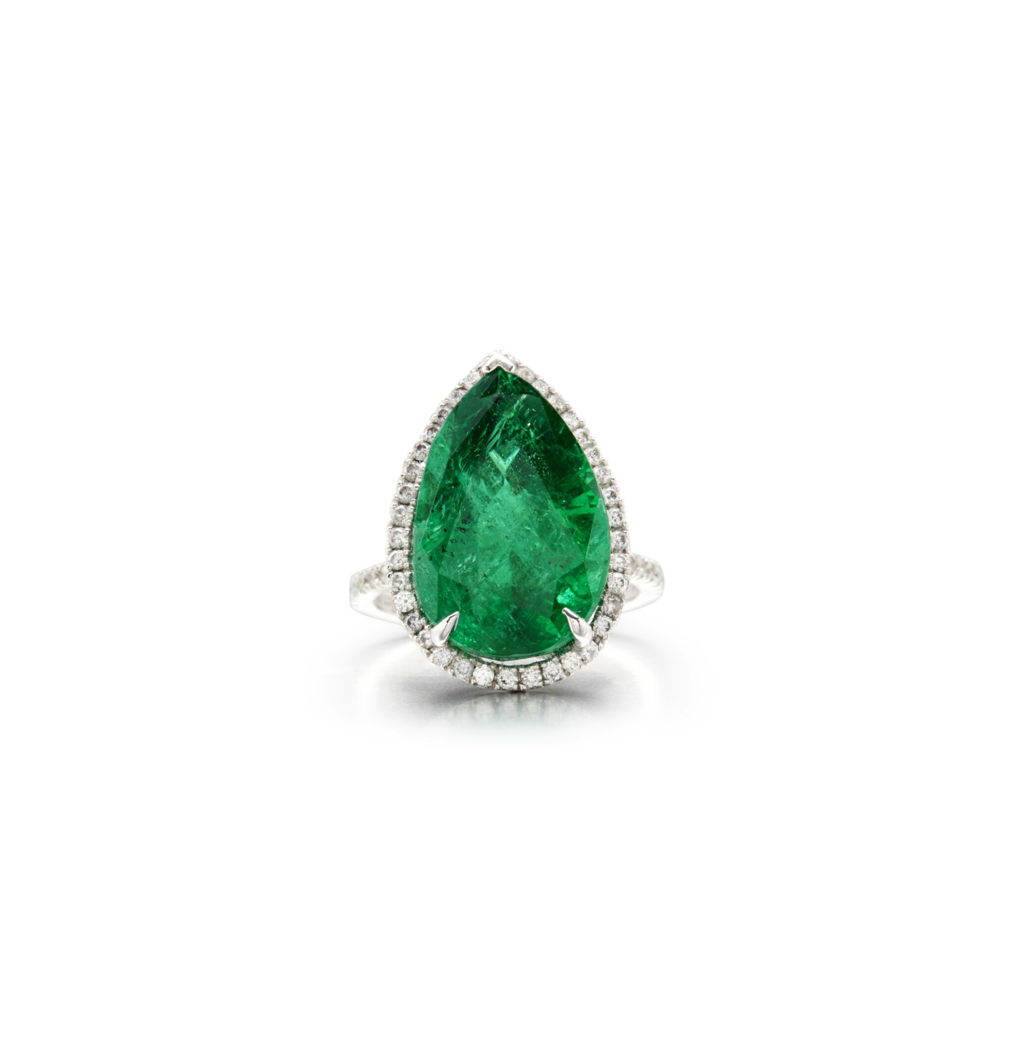 View full screen - View 1 of Lot 15. EMERALD AND DIAMOND RING.